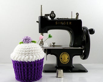 Cupcake Pincushion, Crochet Cupcake, Cupcake Pin Cushion, Cute Pincushion, Cupcake Needle Keeper - Purple Cupcake