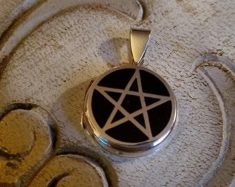 Pagan Sterling Silver Onyx Pentagram Locket Spell Pendant