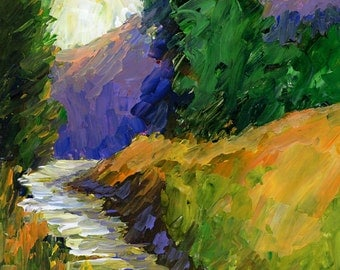 FREE SHIPPING Original landscape acrylic mountain stream painting 8x10