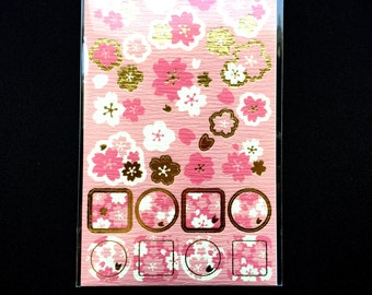 Cherry Blossom Stickers - Japanese Washi Paper Stickers - Chiyogami Flower Stickers - Cherry Blossom stickers -  (S229)