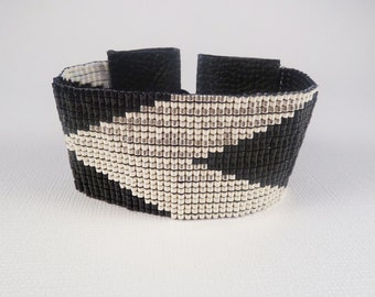 Geometric chevrons loom beaded cuff, silver, black and white, Holiday Sparkle