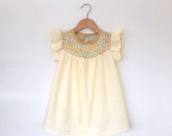 girls cotton dress with Liberty floral detail