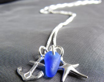 Sea Glass Necklace / sea glass jewelry / seaglass necklace / beach glass necklace / anchor necklace / starfish necklace / blue sea glass