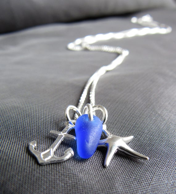 Seafarer sea glass cluster necklace in cobalt blue
