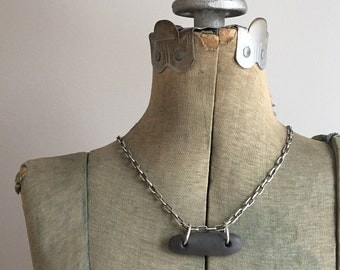 """Black Natural Lake Erie Beach Stone Pendant With Heavy Sterling Silver 24"""" Adjustable Cable Chain"""