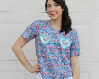Diy HEART Shirt, Sequin Heart shirt, Handmade Heart Top , Kawaii shirt, Kawaii Heart Top, Vintage Flower shirt, Retro flower top, heart top
