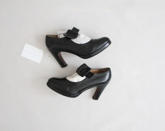 size 7 7.5 heels | black leather mary janes | mary jane heels
