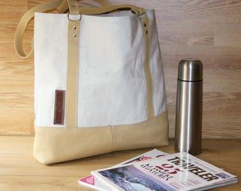 Recycled sailcloth bag, sailbag, upcycled sail bag, sail and leather bag, nautical bag, sailcloth and leather bag, recycled sail, sailcloth