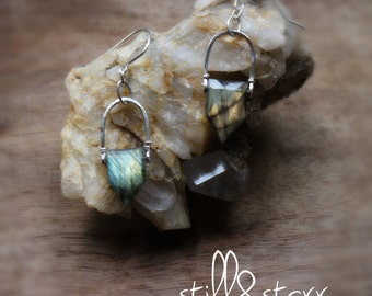 Faceted Labradorite + Sterling Silver or Gold Filled  Earrings