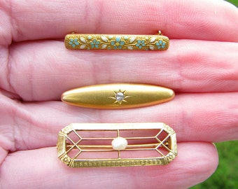 Antique Gold Brooch Pin Set, 14K Gold with Old European Cut Diamond, Pearl, Flowers and Enamel, instant Collection, Lingerie, Baby & Bar Pin