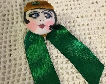 Flapper girl button pin 1920s inspired handmade - Phryne