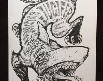 Jucifer original gigposter drawing