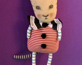 cat fabric doll, sandy mastroni , cat art doll, cat collector, lots of stripes , art, wall art, shelf doll,