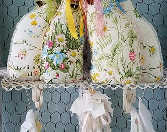 Bunny Rabbit, Stuffed Fabric Bunny, Fabric Rabbit, Rabbit Pillow, Rustic Wedding Decor, Cloth Rabbit, Woodland Nursery, Shabby Chic Rabbit