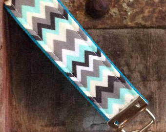 READY TO SHIP-Beautiful Key Fob/Keychain/Wristlet-blue/gray chevron on turq
