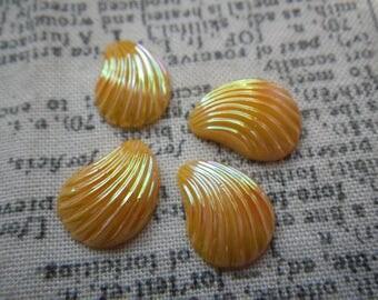 Marigold Yellow AB Shell Shaped Vintage Glass Cabochons 12x8mm 4 Pcs