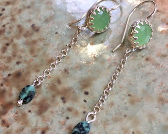 Dangle earrings, casual chain earrings, silver jade turquoise earrings, green earrings, crown earrings, stone earrings - Early dawn E8058