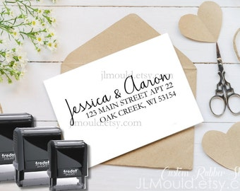 1005 Self Inking JLMould Modern Family Custom Personalized Rubber Stamp Return Address  Wedding Stamper Choose Ink Color