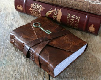 """Leather Journal . Sherlock Holmes - """"When you have eliminated the impossible whatever remains, however improbable, must be the truth"""" (320p)"""