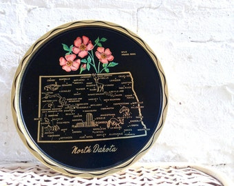 1950's North Dakota State Plate in metal, tin, steel. Gold plated paint . Mid Century Home Decor . Midwest Bismarck Minot Grand Forks Fargo
