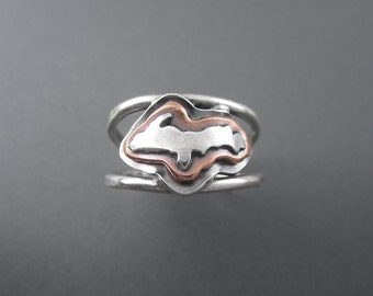 Handmade Elevated Upper Peninsula Profile Mixed Metal Sterling Silver, Copper Ring