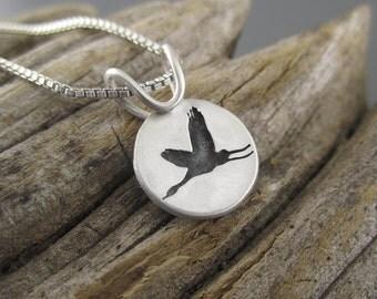 Elegant Crane Sterling Silver Handmade Pendant