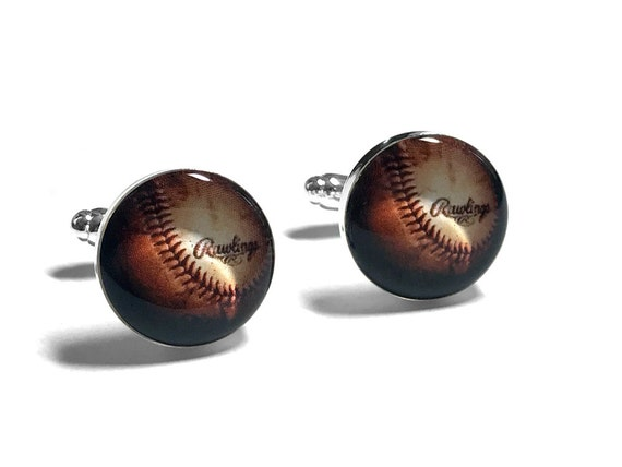 Baseball Cufflinks, Sports Fan, Sports Cufflinks, Fiance Gift, Gift for Dad, Fathers Day Gift, Resin Cufflinks, Grooms Gift, Gift for Him