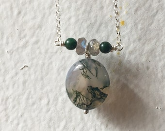 Moss Agate, Labradorite and Jade in Sterling Silver