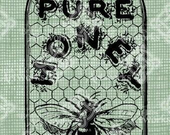 Digital Download, Honey Label, Bumble Bee and Honeycomb, Transparent png, Digi Stamp, Iron On Transfer, Antique Vintage Illustration