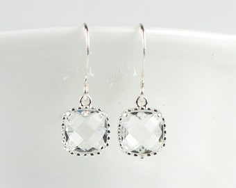 Clear Silver Earrings, Crystal Silver Square Earrings, April Birthstone Jewelry, Silver Earrings, Bridal Earrings, #794