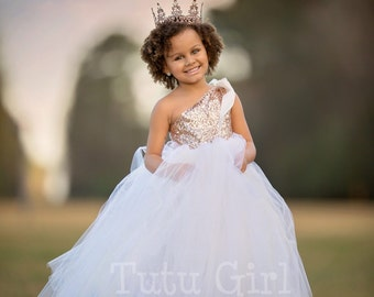 One Shoulder Flower Girl Dress Blush Gold And Off White Tutu