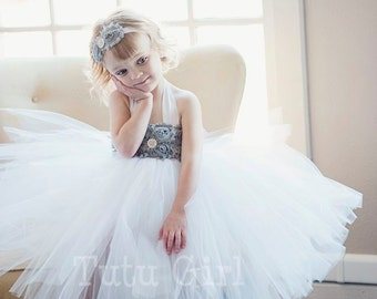 Tutu Dress Flower Girl Custom, White Gray or Ivory toddlers girls, Tulle Flower Girl Dress, Custom Tulle Dress for Girls