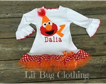 Elmo Comfy Knit Dress, Elmo Girls Personalized Outfit, Elmo Birthday Party Hat Outfit, Elmo Girls Tulle Dress, Sesame Street Girl Outfit