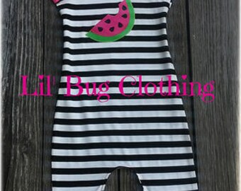 Pink Lime Watermelon Girls 1 Piece Outfit, Watermelon Summer Girls Romper, Custom Boutique Watermelon Romper, Toddler Girl Clothes