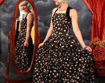 Vintage 1940s Designer Emma Domb Party Lines Ball Gown Dress - Size Medium