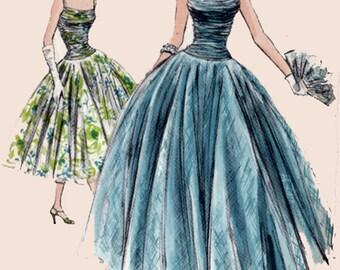 Vintage 50s VOGUE Special Design 4606 Prom/Evening Dress w/ Shirred Dropped Waist Bodice, Shoulder Straps, Wide Circular Skirt Size 12 FF