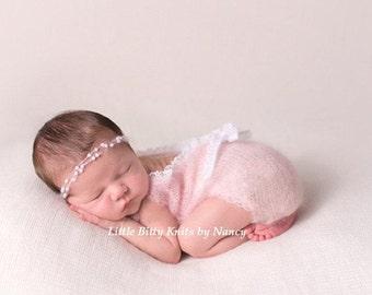 Newborn Girl Romper, Scoop Back Onesie, Mohair Newborn Romper,  Newborn Photography Prop, Kid Mohair Silk
