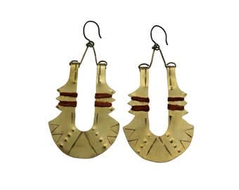 Hand stamped & oxidized brass earrings with hand dyed linen accent