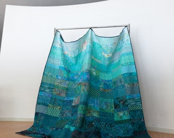 King Size Quilts Large King Size Quilt Modern Quilt King Ocean Quilt Ombre Quilt Turquoise Quilt King Bedding Modern King Size Quilt Art