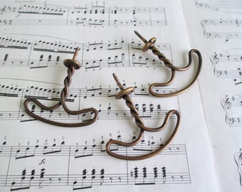 Three Vintage Copper Toned Metal Hat Hooks