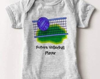 Future Volleyball Player Baby Bodysuit Newborn Infant Boy Girl Shower Gift