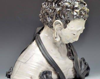 Black and White Figurative Sculpture Mourning Kwan Yin Goddess Kannon Bodhisattva female Buddha