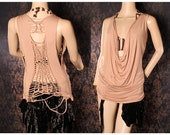 Festival Tank Top, sexy fitted shirt, braided cut up open back, low cut tshirt. long slouchy shirt, light brown top, hippy tank dress, cowl