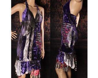 Apocalyptic Dress, tight purple velvet tank dress, patchwork babydoll dress, tattered wasteland sundress, rocker, grunge, dirty, wasteland