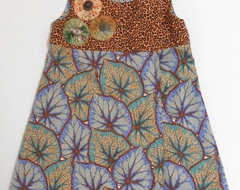Size 4 Girls Dress with a Leopard Bodice
