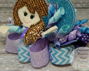 Custom made Mermaid Loopy Bow  You choose the colors