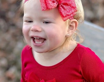 red baby headband, glitter hair bow, Christmas Headband, glitter headband, infant headbands, infant hair bows, Valentines Day, sparkle bows
