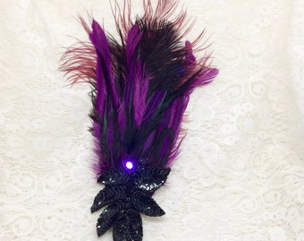 Purple and black LED hair fascinator - steampunk feather hair clip - burlesque hair fascinator with LED light