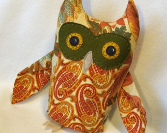 Great Horned Owl plush fabric sculpture orange yellow red paisley owl plushie