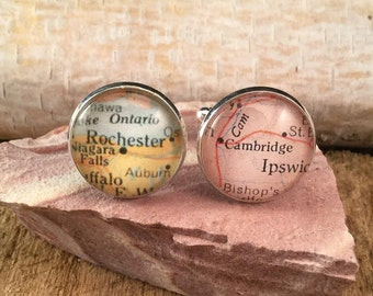 Personlized Custom Map Cufflink, Gold or Silver